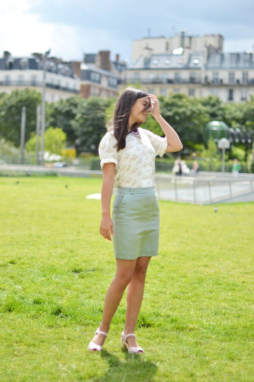 jupe fred perry - chemisier new man - blog mode